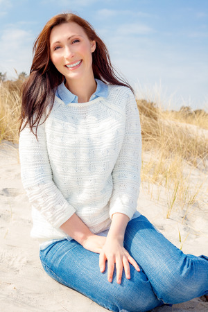 warmer: relaxing female on warmer winter day Stock Photo