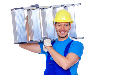 ladder: man worker with ladder on arm