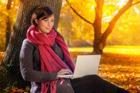 Surfing the web in fall season Banco de Imagens