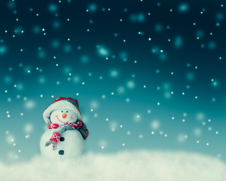 snowman  for card or background Banco de Imagens - 46287279