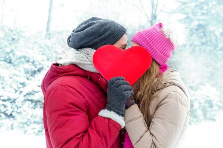 氷の風景の中の冬のバレンタイン カップル