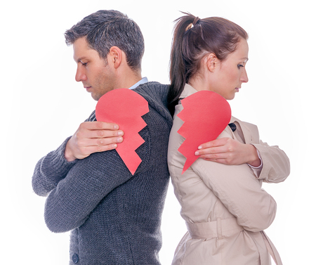 divorced separating couple Stock Photo