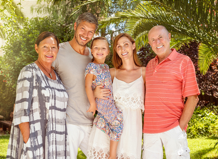 couple with daughter visiting the grandparents Stock Photo