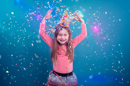 little young girl making party Banco de Imagens - 61257960