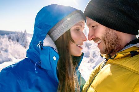 couple winter: winter snow frosty couple portrait Stock Photo