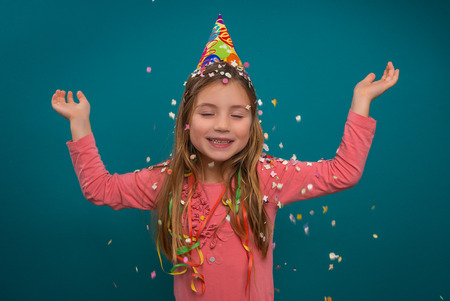 frippery: little cute girl celebratin new year party