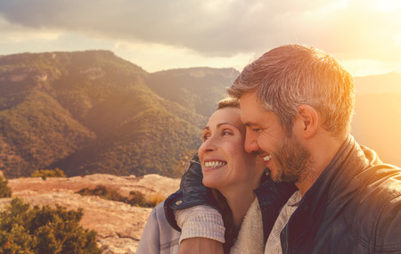 couple in the top of the mountains Banco de Imagens