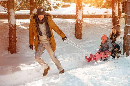 happy funny winter family action