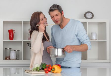 family preparing meal together at home
