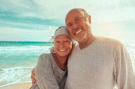 carefree senior male and female