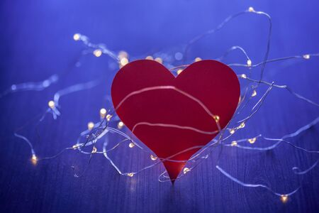detail photo of heart in lights