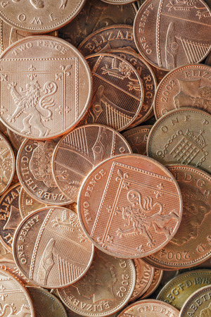 coppers: British Currency - Pennies Stock Photo