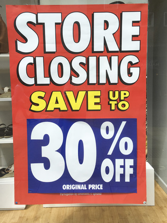 Closing Down Sign in a shop window - All Stock reduced Stock fotó