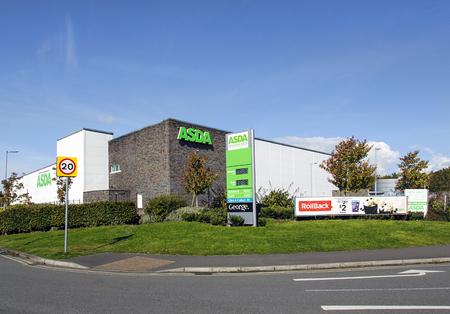 Swansea, UK: September 19, 2017: Asda Supermarket. Asda Stores Limited is an American-owned, British-founded supermarket retailer, headquartered in Leeds, West Yorkshire