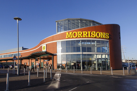 Swansea, UK: December 28, 2016: Main entrance to a Morrisons superstore. Morrisons is the fourth largest chain of supermarkets in the United Kingdom