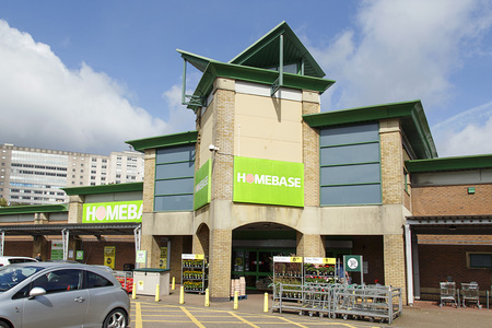 Swansea, UK: August 13, 2017: Homebase is a home improvement retail chain for DIY, garden equipment and furniture