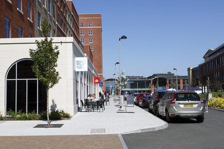 Swansea, UK: June 17, 2017: The new Swansea Bay Campus is located on the eastern approach to Swansea, and is the home to the College of Engineering and School of Management. The main street.