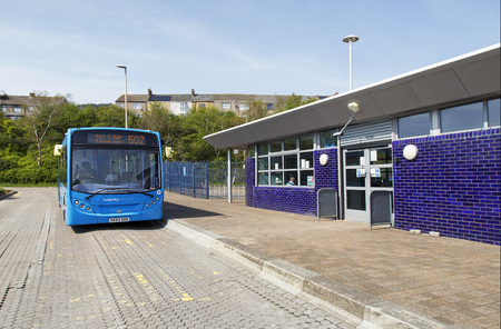 Swansea, UK: May 05, 2016: A bus waiting for passengers at the Park and Ride facility at Fabian Way in Swansea