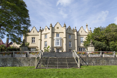 Swansea, UK: September, 2017: Singleton Abbey is a large, mainly 19th century mansion. The buildings are used to house administration offices for Swansea University and is located in Singleton Park.