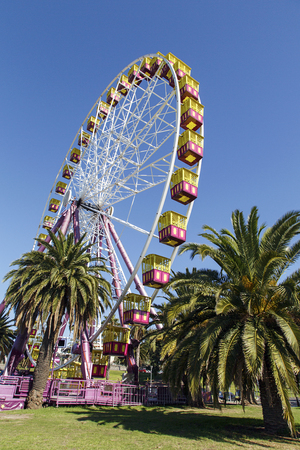 Geelong, Australia: April, 2017: The Geelong Waterfront is a tourist and recreation area on the north facing shores of Corio Bay in Geelong, Australia with amusement rides and seaside cafes Editorial