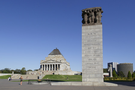 Melbourne, Australia: March 18, 2017: Tourist visit the Shrine of Remembrance in Melbourne. It is a memorial to Australians who served in World War I.