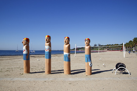 Geelong, Australia: April, 2017: The Lifeguard Bollard Figures on the promenade are part of Geelongs Victorian heritage. There are 103 bollards over 48 sites between Corio Bay and Limeburners Point