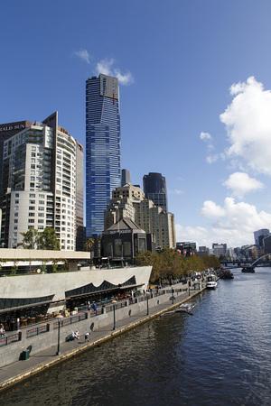 Melbourne, Australia: March 30, 2017: Southbank restaurants along the Yarra River bank in Melbourne.