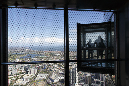 Melbourne, Australia: March 13, 2017: Eureka Tower. Visitors enjoy the view from Skydeck 88 observation deck, at 297 metres it is the tallest building in Australia