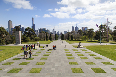 Melbourne, Australia: October 07, 2015: Cityscape of Melbourne high-rise residential and office buildings on the skyline from the Shrine of Remembrance.