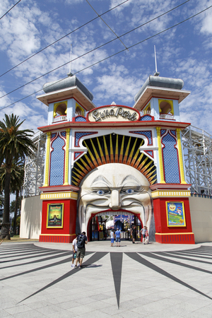 Melbourne, Australia: October, 2015: Main Gate of Luna Park. It opened on 13 December 1912 and has been operating almost continuously ever since. Luna Park was developed by showman J D Williams