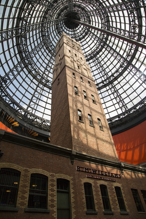 Melbourne, Australia: March, 2017: Coops Shot tower at Central Railway Station in Melbourne. Coops Shot Tower is located in the heart of the Melbourne. It was completed in 1888 and is 50 metres high. Editorial