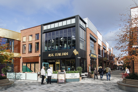 Stratford upon Avon, UK: October 14, 2017: Ask Italian is a modern Italian restaurant chain serving long, stone-baked pizzas and antipasto on wooden boards