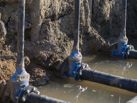 junction pipe: polyethylene pipe details Stock Photo