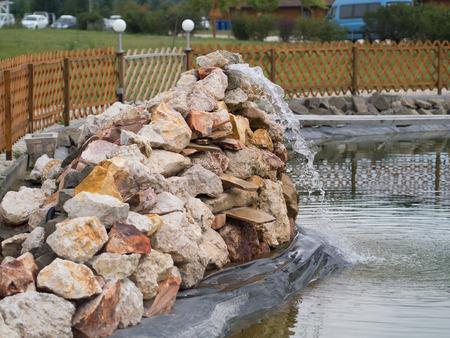 garden fountain: big garden fountain on the rocks