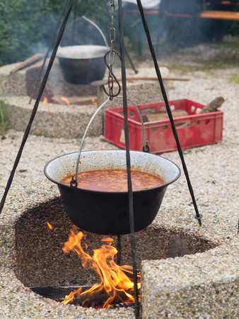 smutty: hungarian goulash cooked in a stew-pot on an open fire