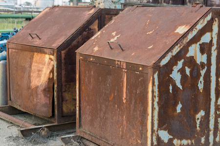 rusted scrap containers