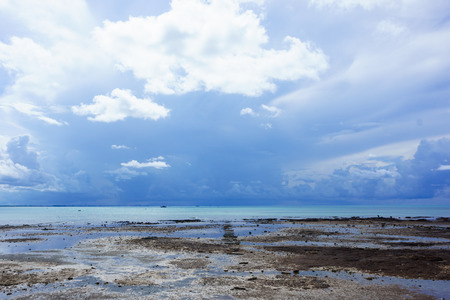 sea view have sand and sky many cloud photo