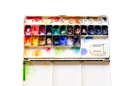 pallette: Vieux aquarelle peint palette sur fond blanc Banque d'images