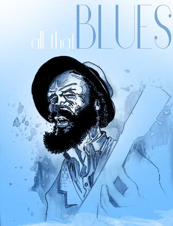 Guitar man singing the blues