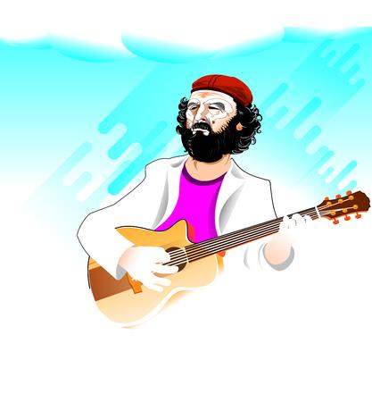Guitar Man playing over smooth rain background Banco de Imagens