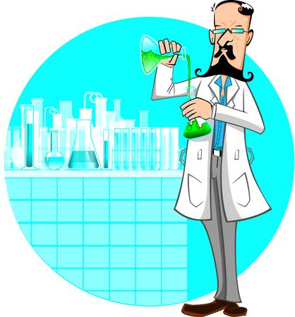 Cartoon scientist working in a chemistry lab