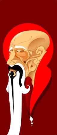 Zen guru, ancient and wise oriental figure
