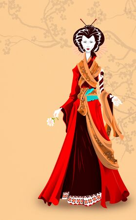 Japanese Geisha. Western woman wearing traditional gown