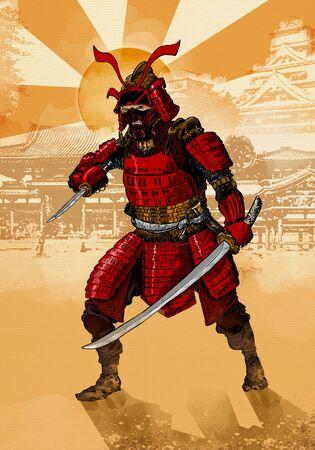 Samurai japanese Warrior in armor ready for battle