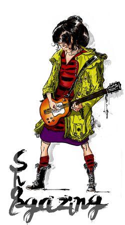 Shoegaze rock girl. Indie woman playing guitar. Banco de Imagens