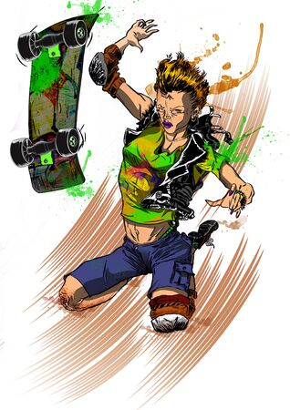 Skater teenager girl falling after a sketeboard ride