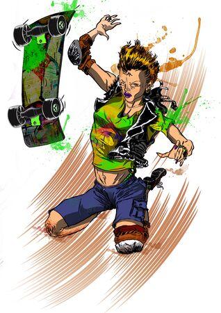 Skater teenager girl falling after a sketeboard ride