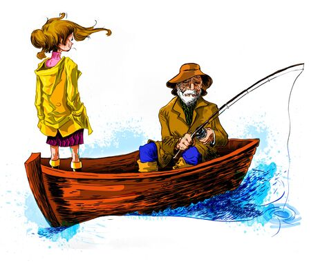 Old man fishing on a wood boat with his Grand daugther