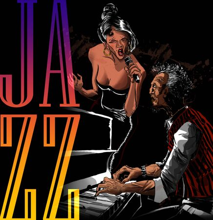 Jazz singer woman performing with piano player