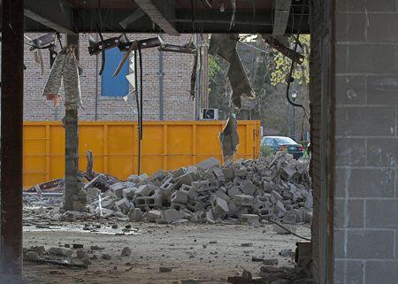 dumpster: dumpster at construction demolition site Stock Photo